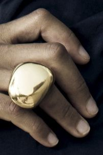 Linhardt large pebble ring 18k gold
