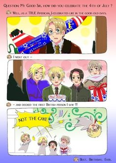 Yep sounds about right. How to celebrate the 4th of July according to hetalia America.