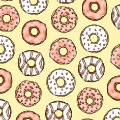 Doughnut Collection Pattern - Pastel Colors. Sakura Fine Line Pens and Digital Coloring with Adobe Photoshop. Artwork by Janelle Dimmett 2016. www.janelledimmett.com