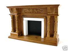 Dolls House Miniature Furniture Victorian Walnut Wood Fireplace