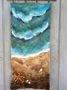 No.10 Beach Star  Wet Felted Wall Hanging by Deebs on Etsy (Art & Collectibles, Fiber Arts, Felting, felted, wet felted, wall hanging, fiber art, needlefelt, starfish, beach, nfest team)