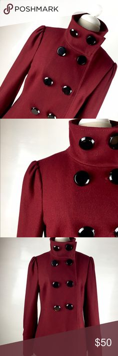"Black Rivet Faux-wool Funnel Neck Peacoat This gorgeous Black Rivet peacoat gets a fresh update with stretchy faux-wool fabric and a high funnel neck. Double-breasted placket, hot maroon color with black big button to complete the look.  Pairs well with jeans or slacks. I have few of this jackets it gives you ageless attitude and a slim, modern fit. I'm moving to island so I can't take all of them.Size Medium.30""long . 23"" sleeve long. I used only few time fairly new. Black Rivet Jackets…"