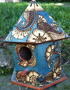 Birdhouse in Pyrography, with Acrylic Accents by parizadhe.deviantart.com on @deviantART