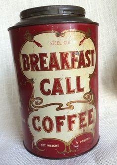 Breakfast Call Coffee Tin 3 lb. - Pantry Cookie Tin - Vintage Advertising - Kitchen - RARE
