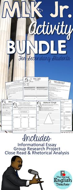 Martin Luther King Jr. Activity Bundle for Secondary Students. Essay, Research, Close Reading, Rhetorical Analysis.