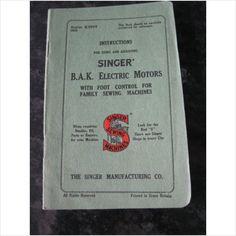 Singer Sewing machine booklet B.A.K Electric Motors on eBid United Kingdom