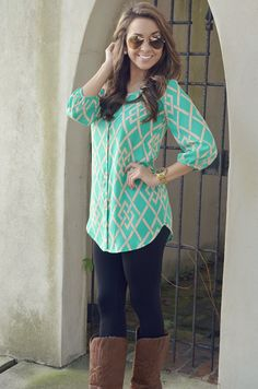 Taken Away Tunic: Mint/Tan