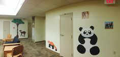 My wild animal theme pod/floor dorm decorations! I made the Panda, red panda, deer, tree with butcher paper. I also posted animal pictures cut out of calendars all around the pod. (RA life, floor decs)