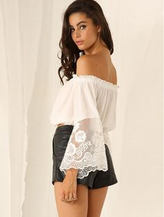 abdea1e75e0 FAST SHIPPING 2016 New Fashion Women White Off Shoulder Lace Long Sleeve  Crop Top Honeymoon Outfits