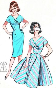 1960s Dress Pattern Butterick 9654 Surplice Bodice by paneenjerez, $25.00