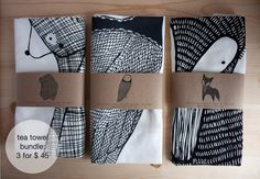 Pre Order Tea Towel Bundle 3 Forest Animal Tea Towels door Gingiber, $45.00.  gaaaf!!