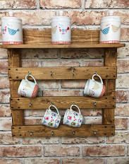 Mug rack, reclaimed wood, pallet wood, rustic, housewarming, kitchen storage