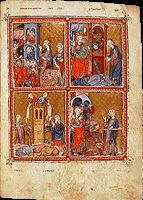 Turning the Pages™ - British Library.This is an invaluable resource for teaching the Golden Haggadah.  The entire manuscript may be viewed in whole or by zooming in for details, and commentary on each page may both be read and listened to.  Golden Haggadah (The Plagues of Egypt, Scenes of Liberation, and Preparation for Passover). Late medieval Spain. c. 1320 C.E. Illuminated manuscript (pigments on vellum).