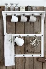 Mug rack. want to hang 20 mugs . i collect. Would retool it and a bright color! Mug Rack, Kitchen Organization, Organizing, Getting Organized, Bathroom Medicine Cabinet, Toilet Paper, Repurposed, Interior Decorating, Diy Projects