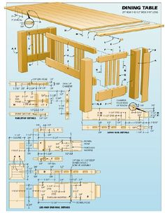 Woodworking plan for dining table. Complete woodworking plans with detail descriptions can be found on my website: www.tedswoodworkplans.com