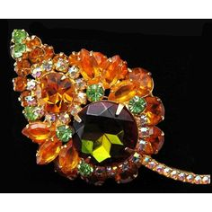 Juliana Brooch Pin D&E Orange Olive Green Rhinestones Gold Metal 3... ($55) ❤ liked on Polyvore featuring jewelry, brooches, vintage brooches, pin brooch, vintage pins brooches, rhinestone brooches and vintage broach