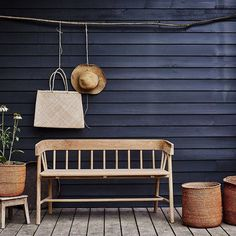 Outdoor benches add storage, beauty and seating to any area around your home! You cannot go wrong with an outdoor bench. Outdoor Spaces, Indoor Outdoor, Outdoor Living, Outdoor Decor, Outdoor Ideas, Dinner Table, Outdoor Gardens, Sweet Home, Decoration