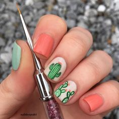Another shot of my Cactus nails that I posted yesterday🌵(check out my recent for the regular post) I get asked quite often what what nail… Dream Nails, Love Nails, How To Do Nails, Pretty Nails, Cute Acrylic Nails, Gel Nail Art, Western Nail Art, Tribal Nails, Nail Tips