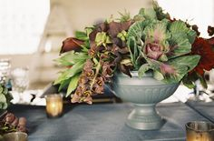 Gorgeous produce centerpieces with cabbage, artichokes, grapes, etc!  Wine Wedding Wednesday – Dutch Still Life Inspired Dinner – ONEHOPE Weddings