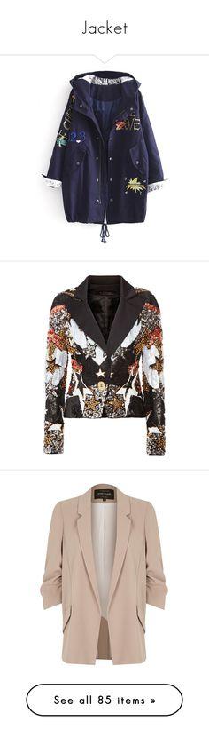 """Jacket"" by dionaellara on Polyvore featuring outerwear, coats, dark blue coat, sequin coat, jackets, blazers, elie saab, blazer, black и satin blazer"