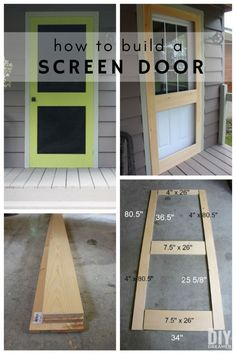 How to build a screen door. Building a screen door is a great DIY project that will add beautiful character to your home. Learn how to build a screen door with this tutorial. Custom Screen Doors, Diy Screen Door, Diy Door, Vintage Screen Doors, Diy Interior Screen Door, Diy Exterior Door, Screen Door Repair, Home Renovation, Architecture Renovation
