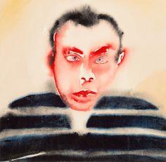 "thunderstruck9: "" Francesco Clemente (Italian, b. 1952), Self Portrait, c.1982. Watercolour on paper, sheet: 32 x 32 cm. """