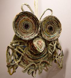 sova z papírových ruliček