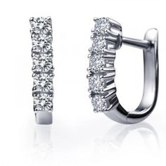 Charm your way to her heart with these stylish and classic diamond earrings showcasing 1 Carat Round cut diamonds. Handcrafted on White Gold, the diamond earrings would definitely enchant her with their style and beauty Diamond Hoop Earrings, Sterling Silver Earrings Studs, Women's Earrings, Diamond Jewelry, 1 Carat, Round Cut Diamond, White Gold, Bling, Women's Fashion