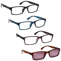18906175372f The Reading Glasses Company Black Blue Purple Readers With Brown Sun Reader  Value 4 Pack Mens Womens UVSR4092 Strength +2.50  Amazon.co.uk  Health ...