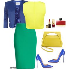 COLOR BLOCKING #1 !! by betty-sanga on Polyvore featuring moda, Miss Selfridge, Kaliko, Roland Mouret, Christian Louboutin, J.W. Anderson, Burberry and Kat Von D