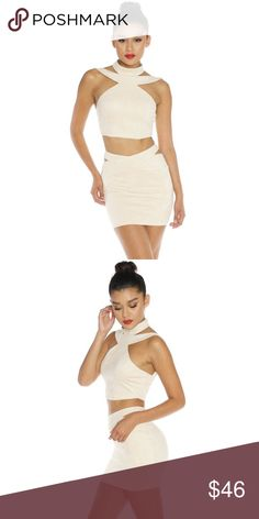 Twilight Suede Mini Set Sexy and extremely soft Suede cut-out Mini skirt and Crop top set. Top is lined with an exposed zipper at lower back portion and buttons to clasp the nape of the neck. Skirt has concealed zipper. Designed in LA. I wear a Med in this one.   92% Polyester 8% Spandex   ✖️No trades, thank you!   Bundles welcome!   My measurements in Bio  Happy poshing and please let me know how I can better serve you LF Skirts Mini