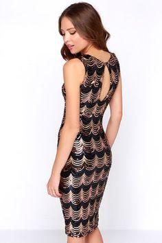 Sexy Black And Gold Dress - Midi Dress - Sequin Dress - $49.00
