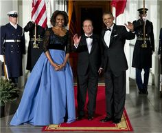 Michelle Obama, espectacular de Carolina Herrera, en la cena de gala a François Hollande en la Casa Blanca