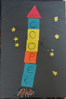 Name station. Put out different colored squares for kids to pick out. Kids write one letter on each square. Paste vertically on black paper. Paste a triangle on top and yellow star stickers or cut outs around rocket.