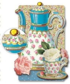 Teacup Rose Dimensional Greeting Card - Roses And Teacups