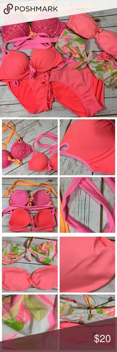 Victoria's Secret Bikini Swim Bundle 34B & Medium Victoria's Secret Swim bundle. Medium & 34B  Crochet push-up 34B Neon coral/pink push-up 34B Floral bandeau- no pads (M) Neon coral padded bandeau (M) Neon coral bottom (M) Neon coral/pink bottom (M)  Flaws: some picks on fabric (like from sitting on cement), some discoloration on the tops & ties, & bottoms have some multiple tiny little spots on the back. They're all clean & laundered, but arent perfect. They're very wearable & the flaws…