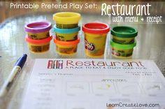 { Printable Pretend Play Set: Restaurant }