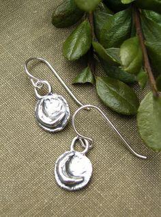 Silver Moon Earrings Minimalist Tiny Dainty Small by BonArtsStudio