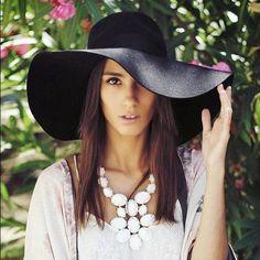 "Boho Black Wide Brim Floppy Hat Boho black wide brim floppy hat, Total circumference 47"", 3.75"" brim, 100% Polyester.  No Trades, Price Firm unless Bundled.  BUNDLE 3 OR MORE ITEMS FOR 15 % OFF. Boutique Accessories Hats"
