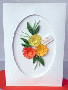 Quilled birthday card personalized by PaperDaisyCardDesign on Etsy