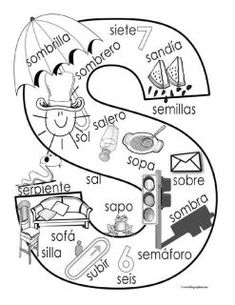 """""""S"""" coloring page ✿ Spanish Learning/ Teaching Spanish / Spanish Language / Spanish vocabulary /… Bilingual Classroom, Bilingual Education, Spanish Classroom, Spanish Language Learning, Teaching Spanish, Speech And Language, Spanish Vocabulary, Dual Language, Preschool Spanish"""