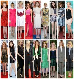 Emma Stone Style my favorite dress is the second dress on the second row ( the black one ) SO CUTE