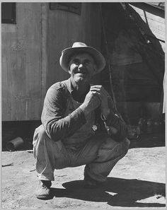 "Farmer, born in Illinois, farmed in Oklahoma, brought his family to California where they worked as migrant farm laborers. Now settling with his wife and grown sons on Olivehurst tract. 'This is a place for poor people who want to get a start.' "" Olivehurst, Yuba County, California.  By Dorothea Lange."