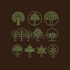 Вектор органические символы дерева — стоковая иллюстрация #54926907