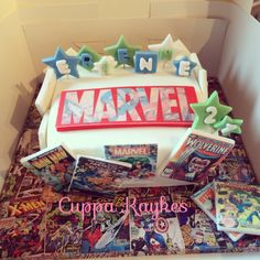Marvel comic book cake