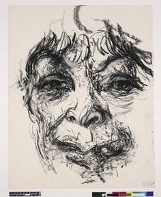 Full: Front Study of Henrietta Moraes; full-face, over life size, seen from below the lips to the forehead. 7 June 1998 Charcoal reproduced by permission of the artist © The Trustees of the British Museum Life Drawing, Painting & Drawing, Expressionist Portraits, Maggi Hambling, List Of Artists, Artist List, Great Works Of Art, Photography Themes, A Level Art