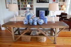 Wood table + blue and white pottery