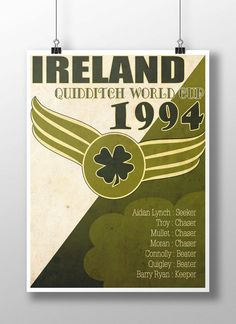 I have one of these in my house, and I always get excited comments on it! Ireland 1994 World Quidditch Cup Poster Harry Potter Props, Harry Potter Quidditch, Harry Potter Theme, Hogwarts Alumni, Love Ireland, Relay For Life, Snitch, Mischief Managed, Get Excited