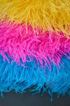 Medley of Colors / 12 inches in Yellow, Hot Pink, Turquoise / Ostrich Fringe Trim feather / Wedding, costume design. Teal Yellow, Turquoise Color, Bright Pink, Pink Blue, Hot Pink, Pink Color Schemes, Colour Pallete, Pink Palette, Pink Room