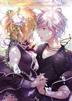 ✮ ANIME ART ✮ anime couple. . .romantic. . .love. . .underwater. . .holding hands. . .flowers. . .sweet. . .cute. . .kawaii